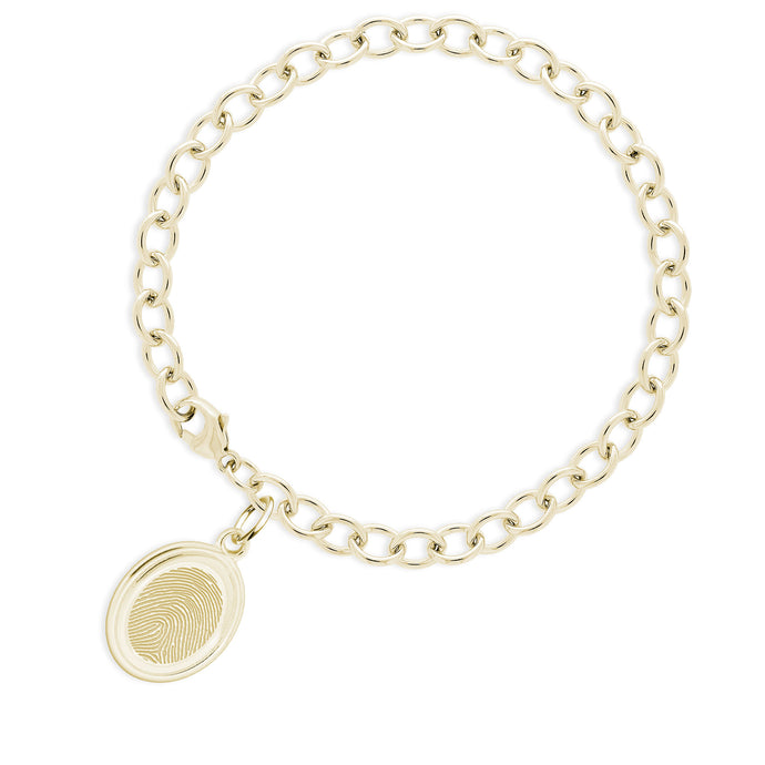 14k Yellow Gold Bracelet with Oval Charm - Legacy Touch -- Dev