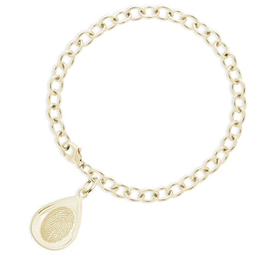 14k Yellow Gold Bracelet with Tear Drop Charm - Legacy Touch -- Dev