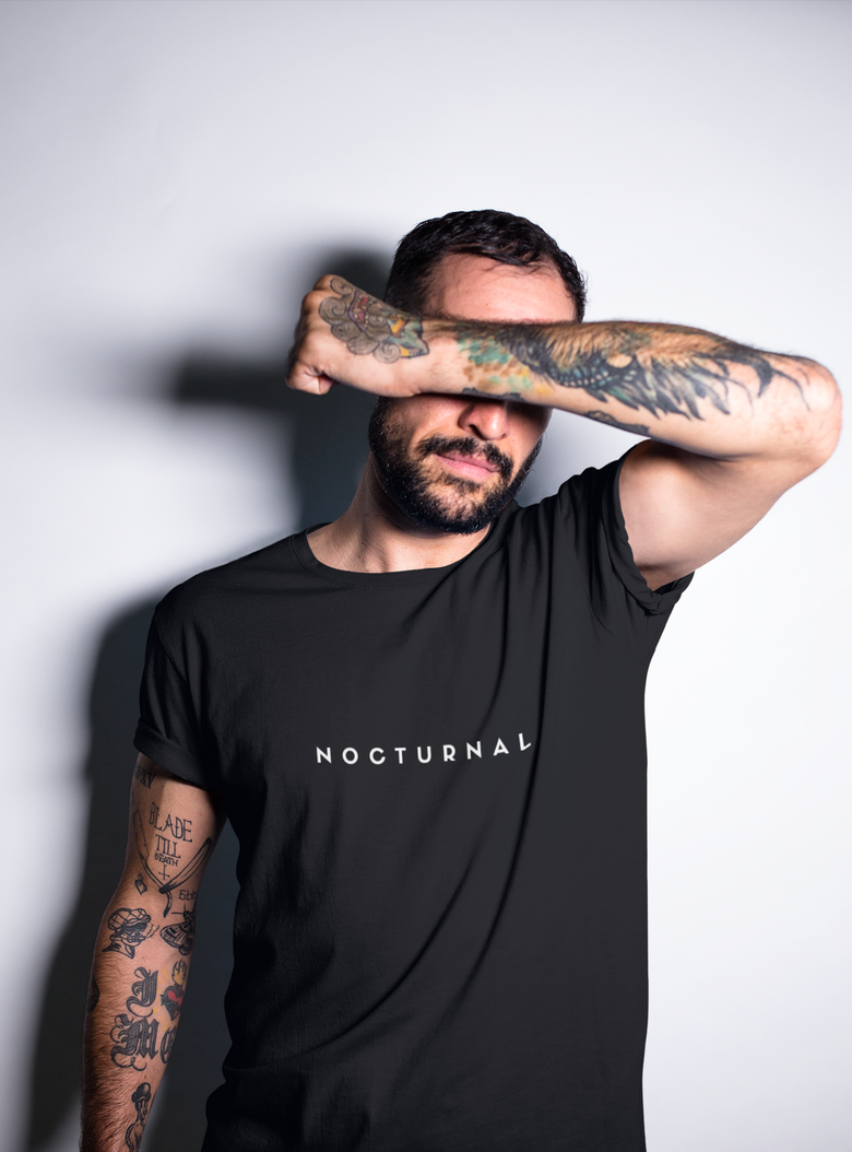 PREMIUM 'Nocturnal' Typography T-Shirt (Black)