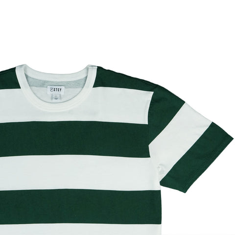 LEAGUE STRIPE TEE - FOREST GREEN / OFF WHITE