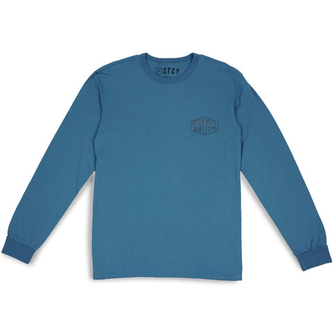 QUALITY DIAMONDS LONG SLEEVE TEE - STEEL BLUE