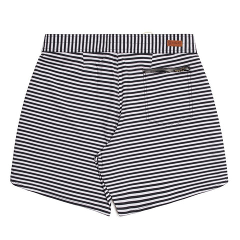 "Stacey Foundation 17"" Boardshort - White/Black Mini Feeder Stripe"