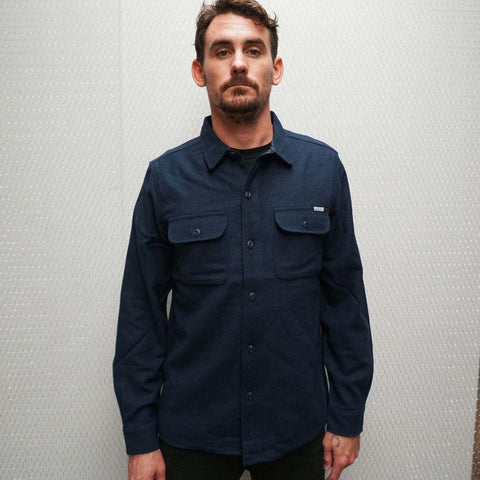 WORKMAN SHIRT - NAVY WOOL