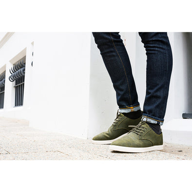 Clae Footwear Ellington Olive Waxed Suede