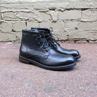 Vegas Military  Lace Up Boot Black Leather