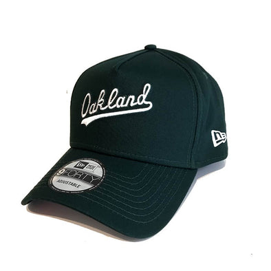 Oakland A Frame 9FORTY Cooperstown Script Snapback Green