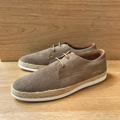 Breeze Perforated Suede Espadrille - Light Brown - Gingers & Providence