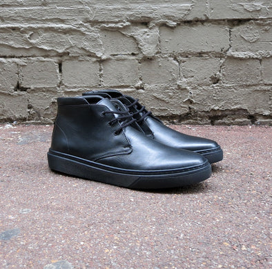 Dover  - Black Leather Mid Cut Sneaker