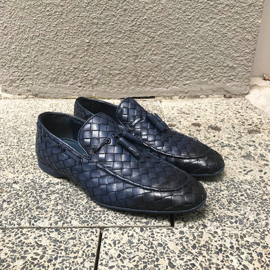 Amalfi Weaved Leather Loafer Navy 8399