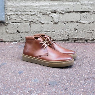 Dover - Tan Leather Mid Cut Sneaker