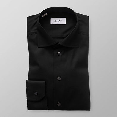 Signature Twill Slim Fit Shirt - Black - Gingers & Providence