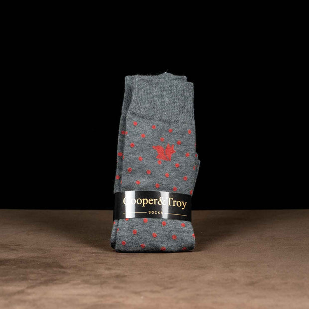 Grey & Red Dots Socks