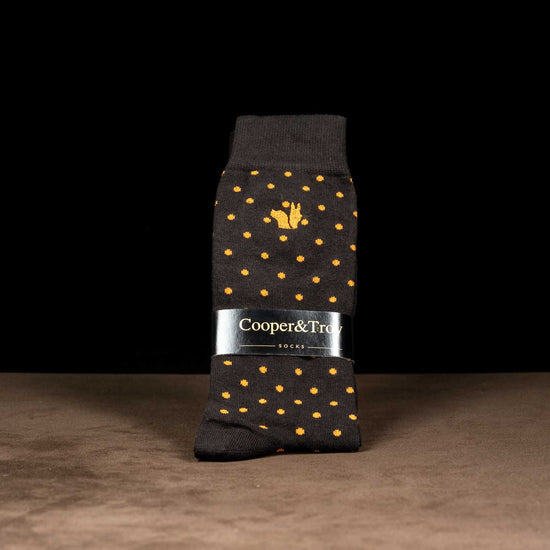 Brown & Orange Dots Socks