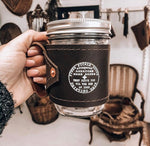 Load image into Gallery viewer, Leather-Wrapped Mason Jar