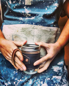 Leather-Wrapped Mason Jar