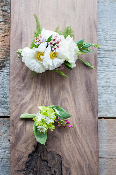 Mini Hydrangea, Queen Ann Lace & Boronia Boutonniere