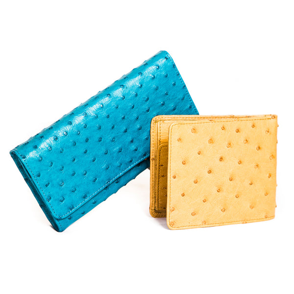 His & Hers Ostrich Leather Wallets