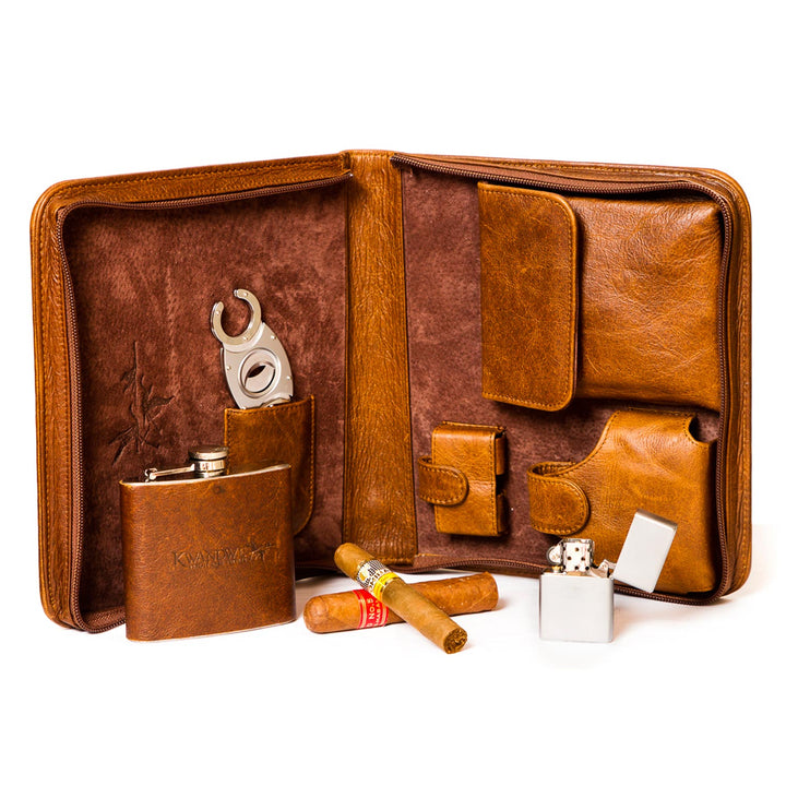 Leather Cigar Case-open