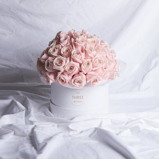 PASTEL PINK ROSES (Bouquet or Round Box)