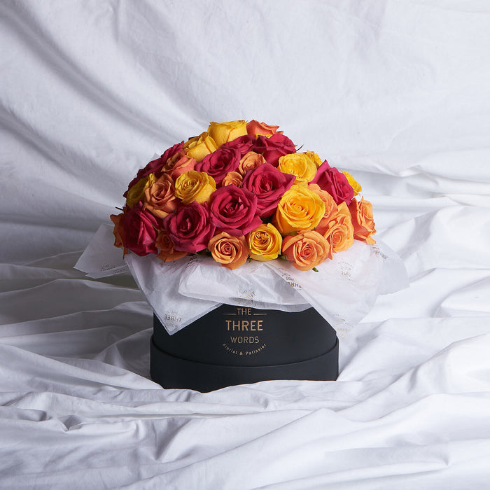 Dark Pink + Yellow + Orange Roses (Bouquet or Round Box)