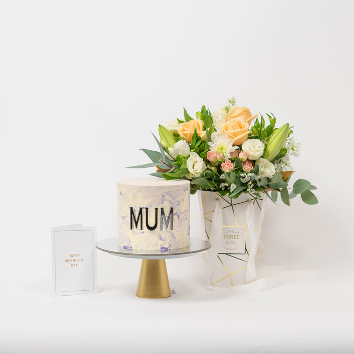 MOTHER'S DAY SPECIAL - CAKE & SMALL LUX BAG FLOWERS COMBO