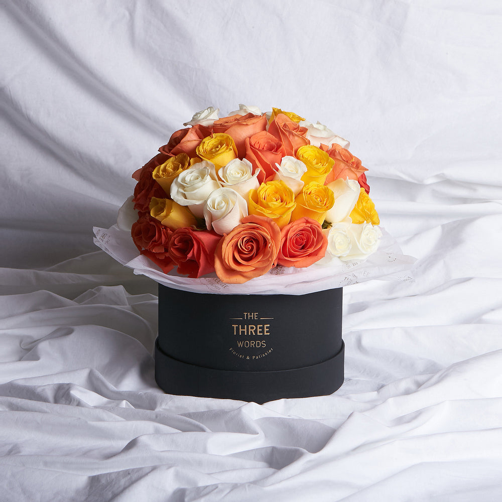 Orange + Yellow + Creamy White Roses (Bouquet or Round Box)