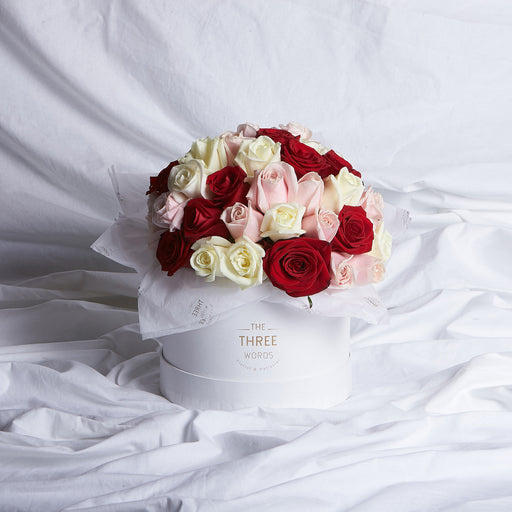 Light Pink + Red + Creamy White Roses (Bouquet or Round Box)