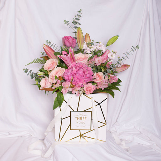 "Mother's Day - ""Pastel Pink Bouquet"" in Square Bag"