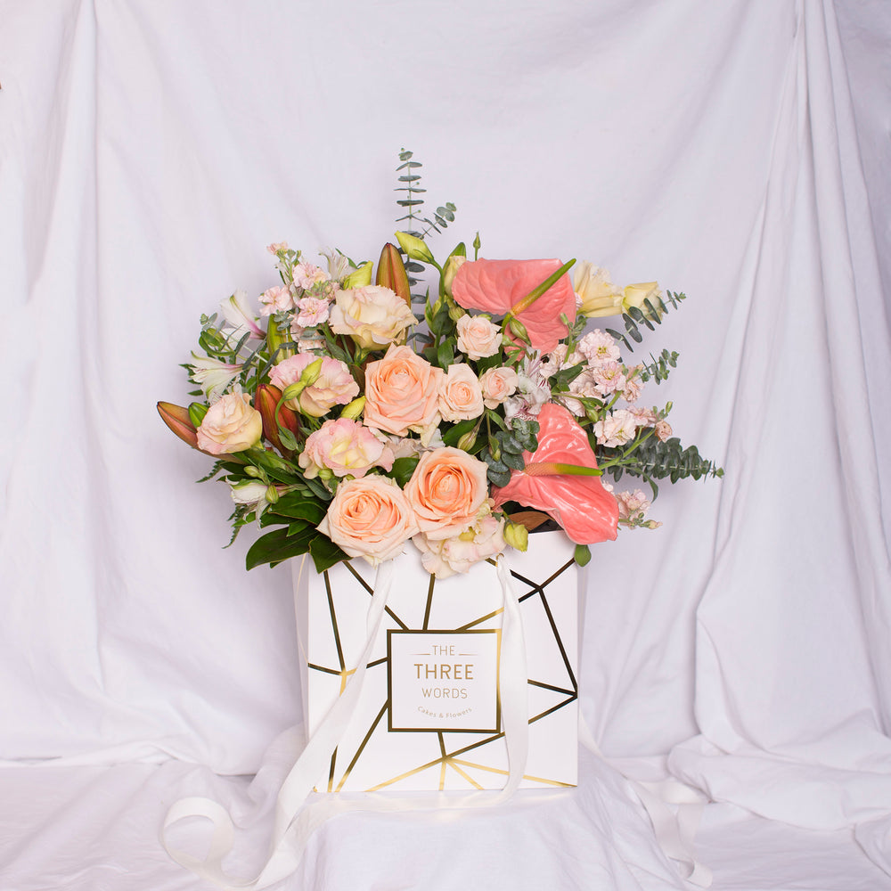 Pastel Peach Bouquet in Square Lux Bag