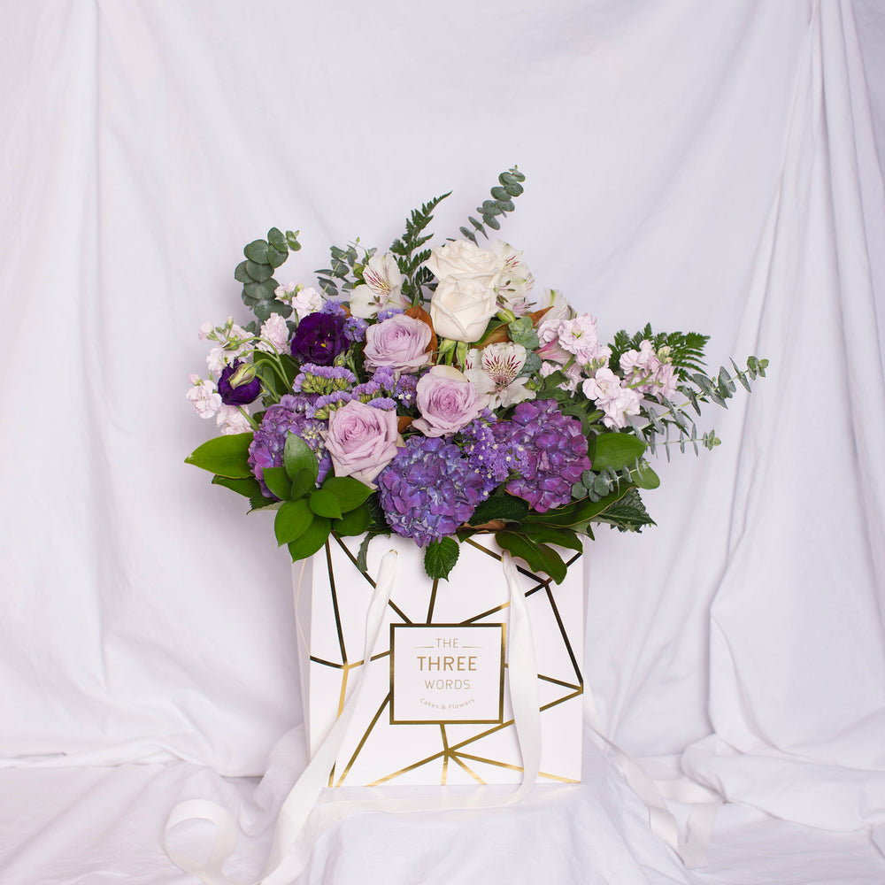 Pastel Purple Bouquet in Square Lux Bag