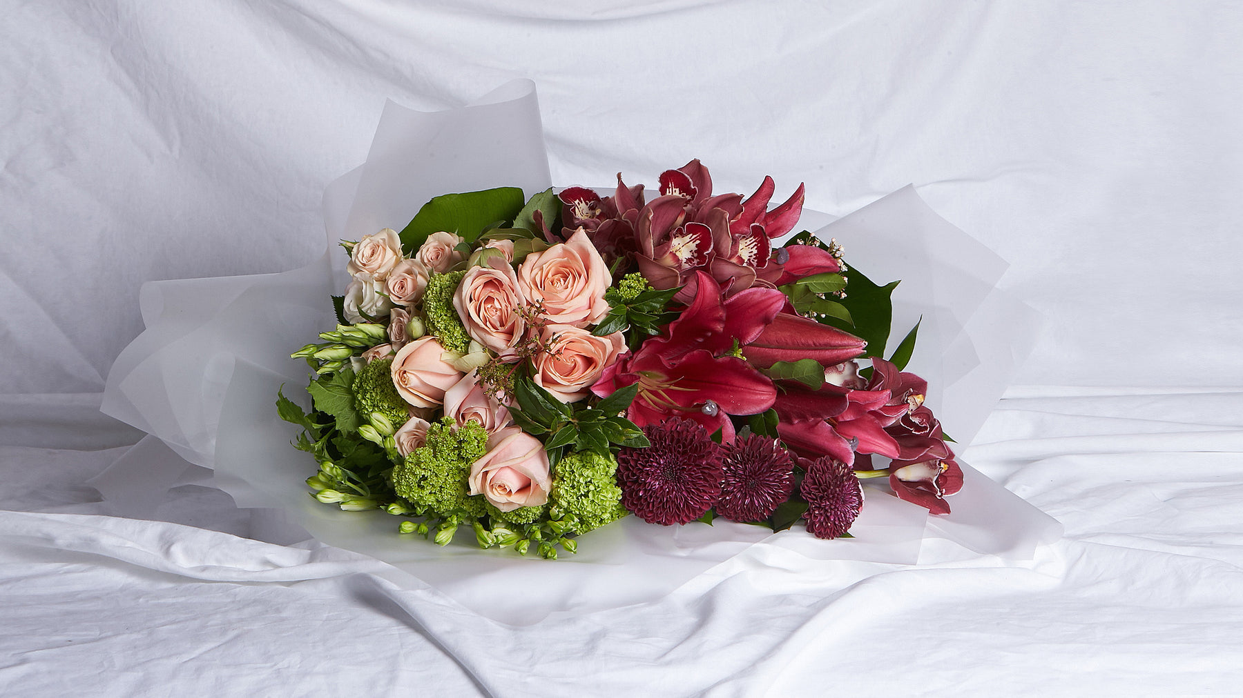 The Burgundy, Peach & Green Bouquet