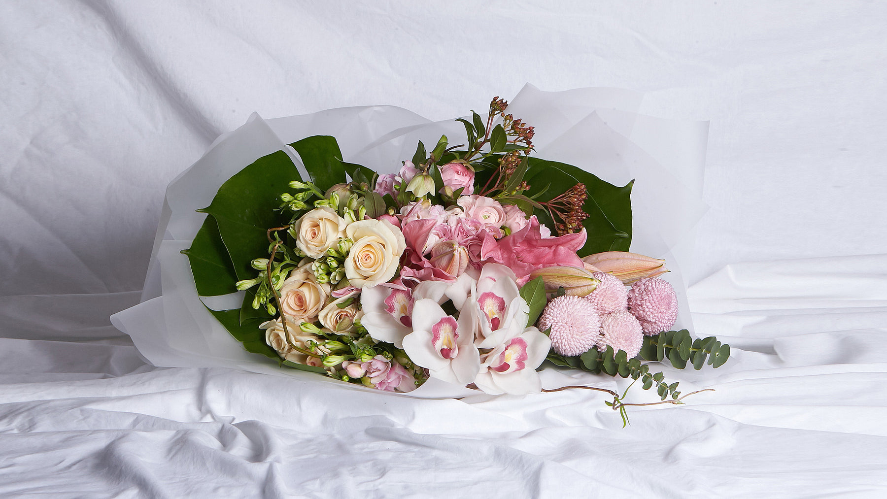 The Light Pink, White & Peach Bouquet