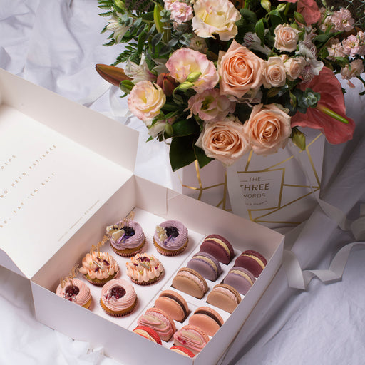 "Mother's Day - ""Pastel Peach Flowers + Cupcakes + Macarons"" Combo"