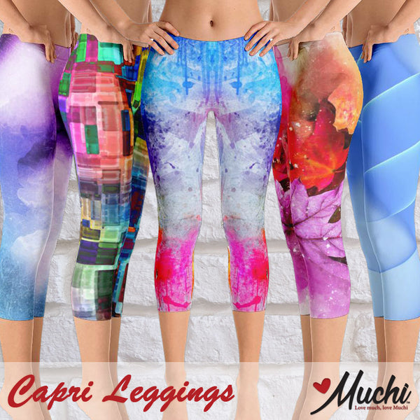 Artist-designed women's capri leggings by Muchi USA