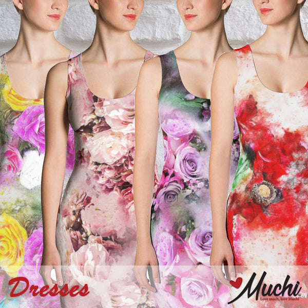 Artist-designed women's dresses by Muchi USA
