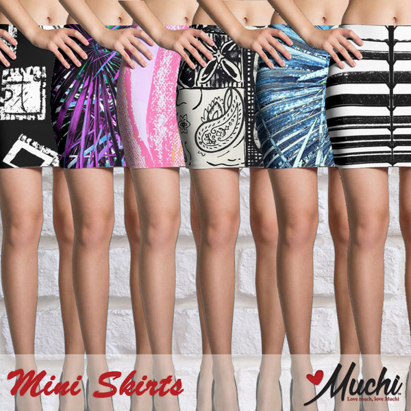 Artist-designed women's mini skirts by Muchi USA