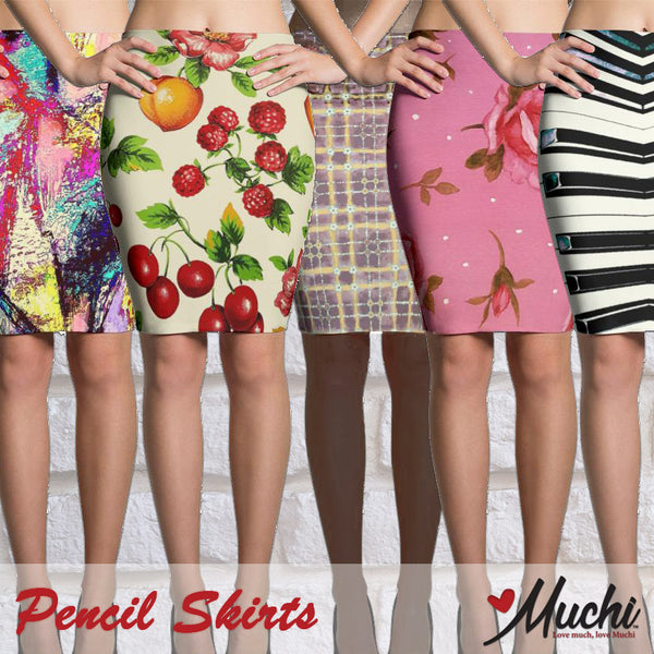 Artist-designed women's pencil skirts by Muchi USA