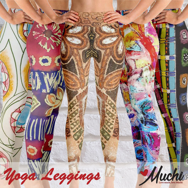 Artist-designed women's yoga leggings by Muchi USA