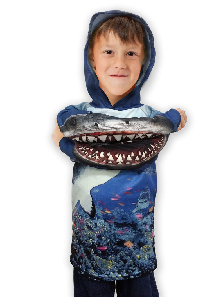 1e7f6f0150f46 SHARK TANK 3D Hoodie Chomp Shirt for Kids by MOUTHMAN® - Valroy s