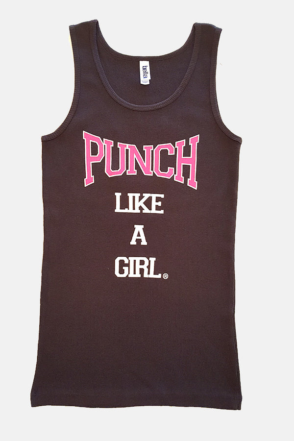 Sleeveless Chocolate Brown Classic Ribbed Tank Top with Official Punch Like A Girl® Logo - Valroy's