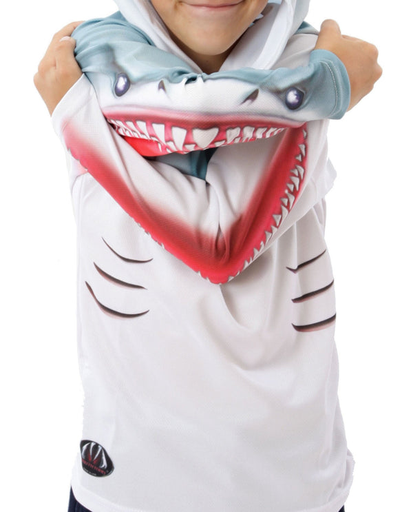 SHARK in WHITE Youth Hoodie Sport Shirt by MOUTHMAN® - Valroy's