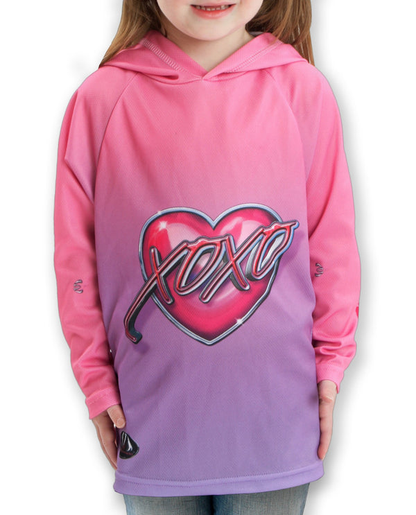 XOXO KISSY LIPS Hoodie Chomp Shirt for Girls by MOUTHMAN® - Valroy's