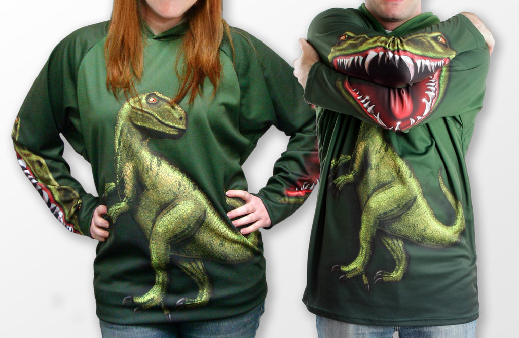 Adults Hoodies: JURASSIC RAPTOR DINO Adults Hoodie Sport Shirt by MOUTHMAN® - Valroy's Store