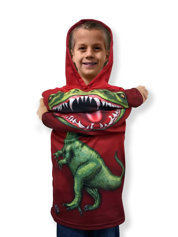 RED JURASSIC RAPTOR DINO Hoodie Sport Shirt by MOUTHMAN® - Valroy's
