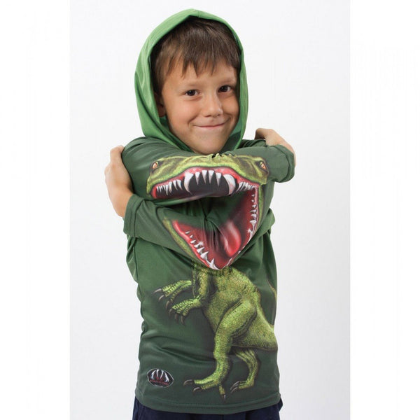 Ladies Hoodies: JURASSIC RAPTOR DINO Youth Hoodie Sport Shirt by MOUTHMAN® - Valroy's Store