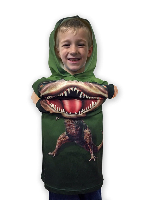 T-REX DINO in GREEN Hoodie Sport Shirt by MOUTHMAN® - Valroy's