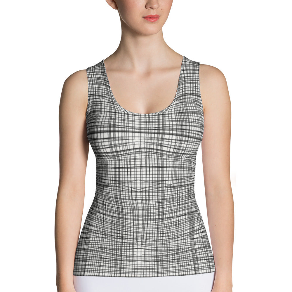 Ladies Tank Tops: Gridlines Tank Top by MuchiUSA - Valroy's Store