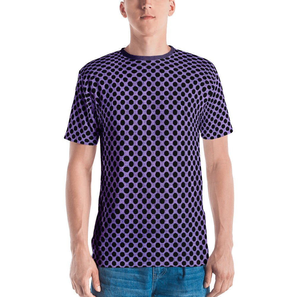 Muchi Men's Designer Purple Burlap Black Dots Print Crew Neck T-shirt - Valroy's