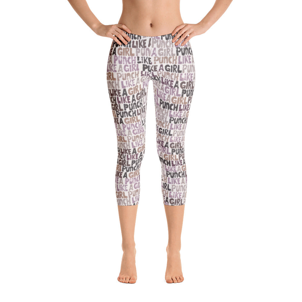 Valroys.com Ladies Capri Leggings - Punch Like A Girl Words Pattern Capri Leggings - Punch