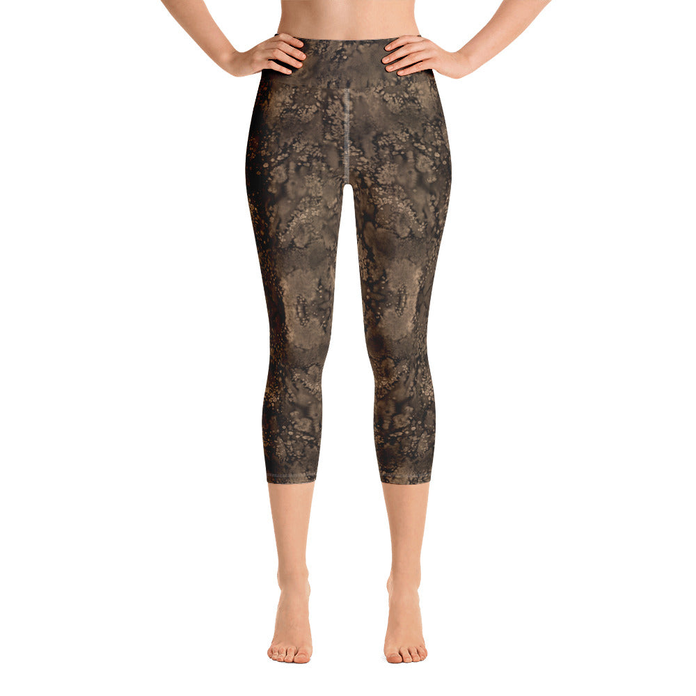 Sepia Paisley Smudge Yoga Capri Leggings by Muchi-USA